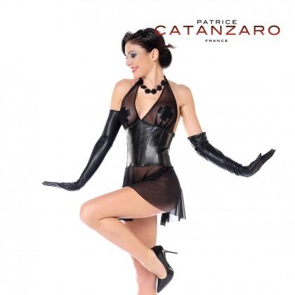 Robe évasée résille et faux cuir Aline de Patrice Catanzaro