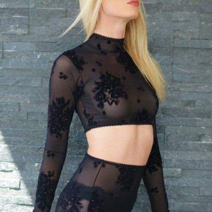 Top court manches longues strass et velours