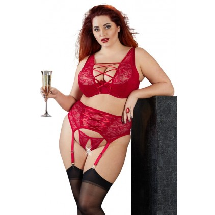 Ensemble lingerie sexy grande taille en dentelle rouge