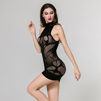 Robe_sexy_en_resille_col_montant_pas_cher