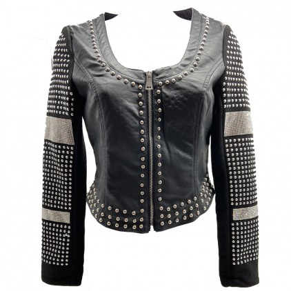 Veste clous et strass en simili