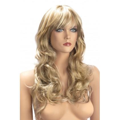 Perruque_Zara_Blond_Méché_Coupe_Longue_Ondulée_avec_Frange