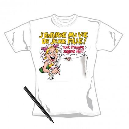 T-shirt Dédicace 'Enterrement de Vie de Jeune Fille ' avec Marqueur