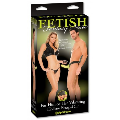 FFS For Him or Her Vibrating Hollow Strap-On Glow In The Dark