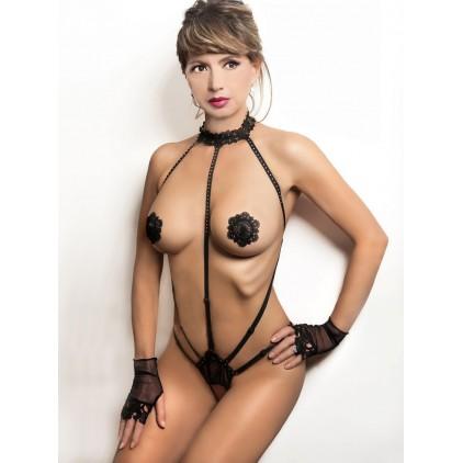 Body ouvert noir Cachou