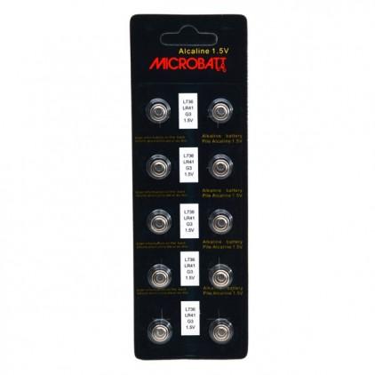 Blister de 10 piles boutons Microbatt LR41