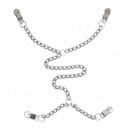 Pinces à seins et à lèvres métal avec chaîne métal